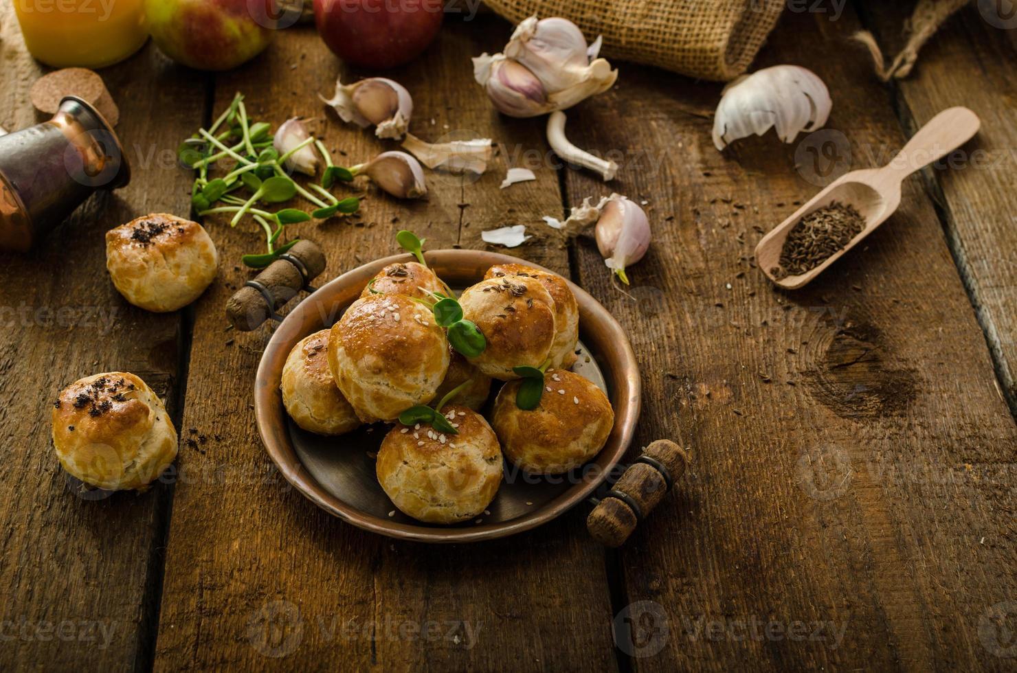 Cheese mini buns from domestic dough photo