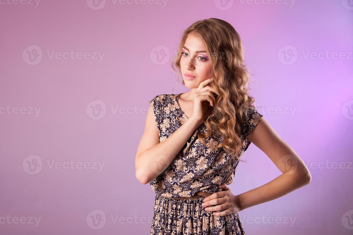 Fashion model with flowers, spring look photo