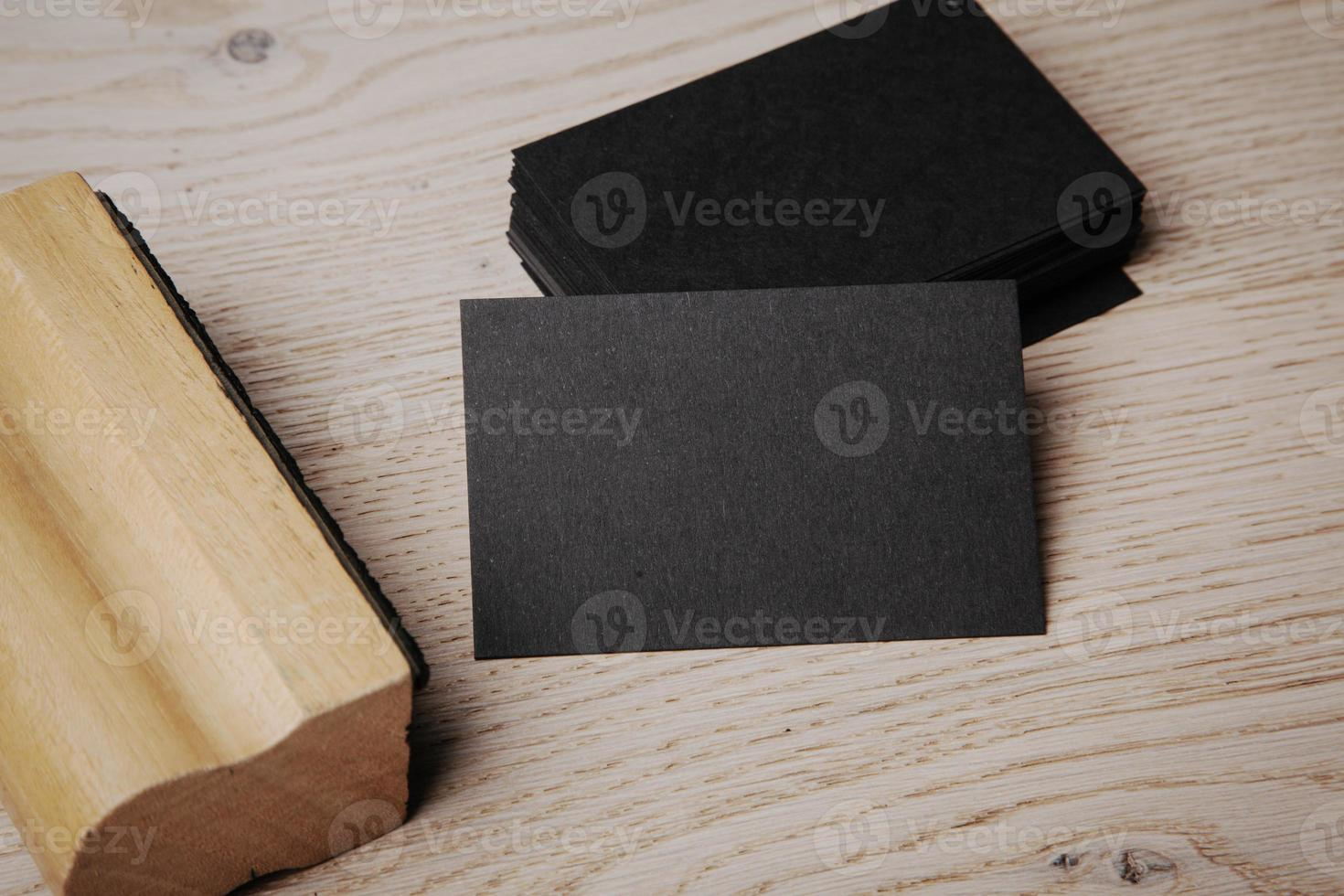 Blank office elements on the wooden background photo