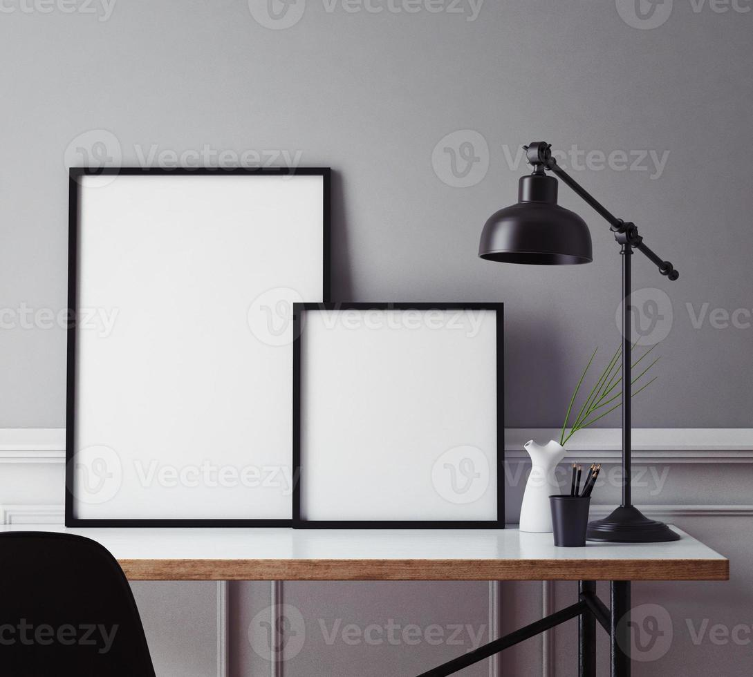 mock up poster frames in hipster interior background photo
