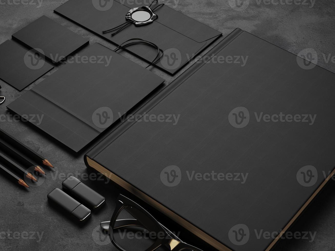 Set of mock up elements on black background. 3d render photo