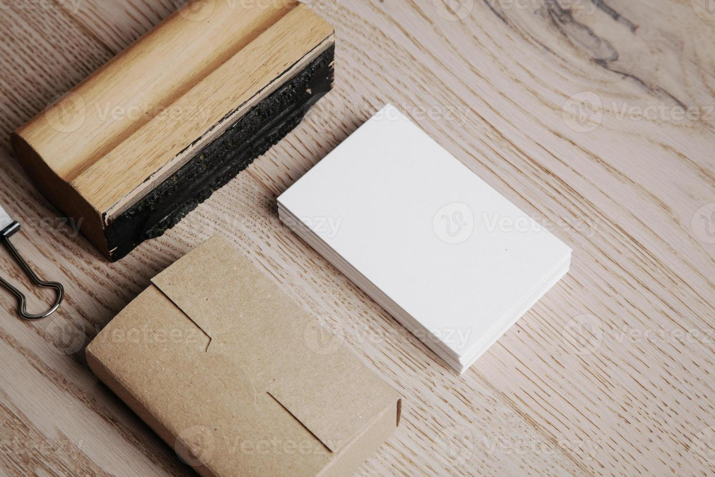 Office elements on the wooden background. Horizontal photo