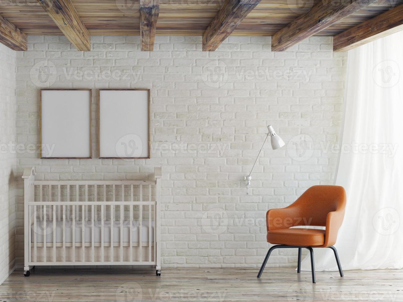 Habitación de bebé, simulacros de póster en la pared de ladrillo, ilustración 3d foto