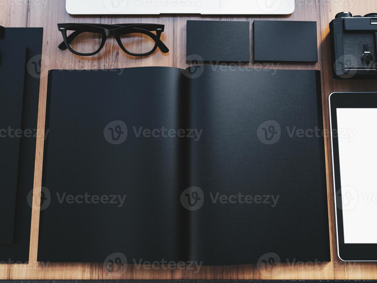 Set of branding design office elements on the wooden table photo