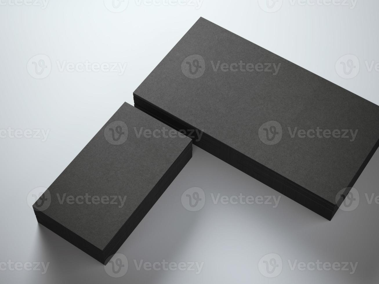Black stack of business cards photo