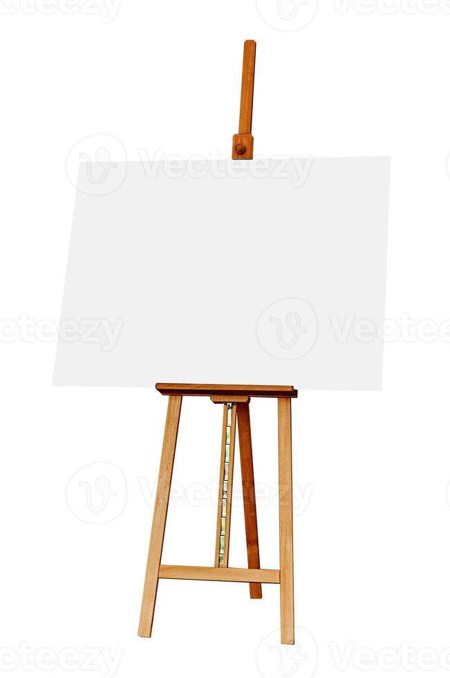 Wooden Easel with Blank Painting Canvas Isolated on White Backgr photo