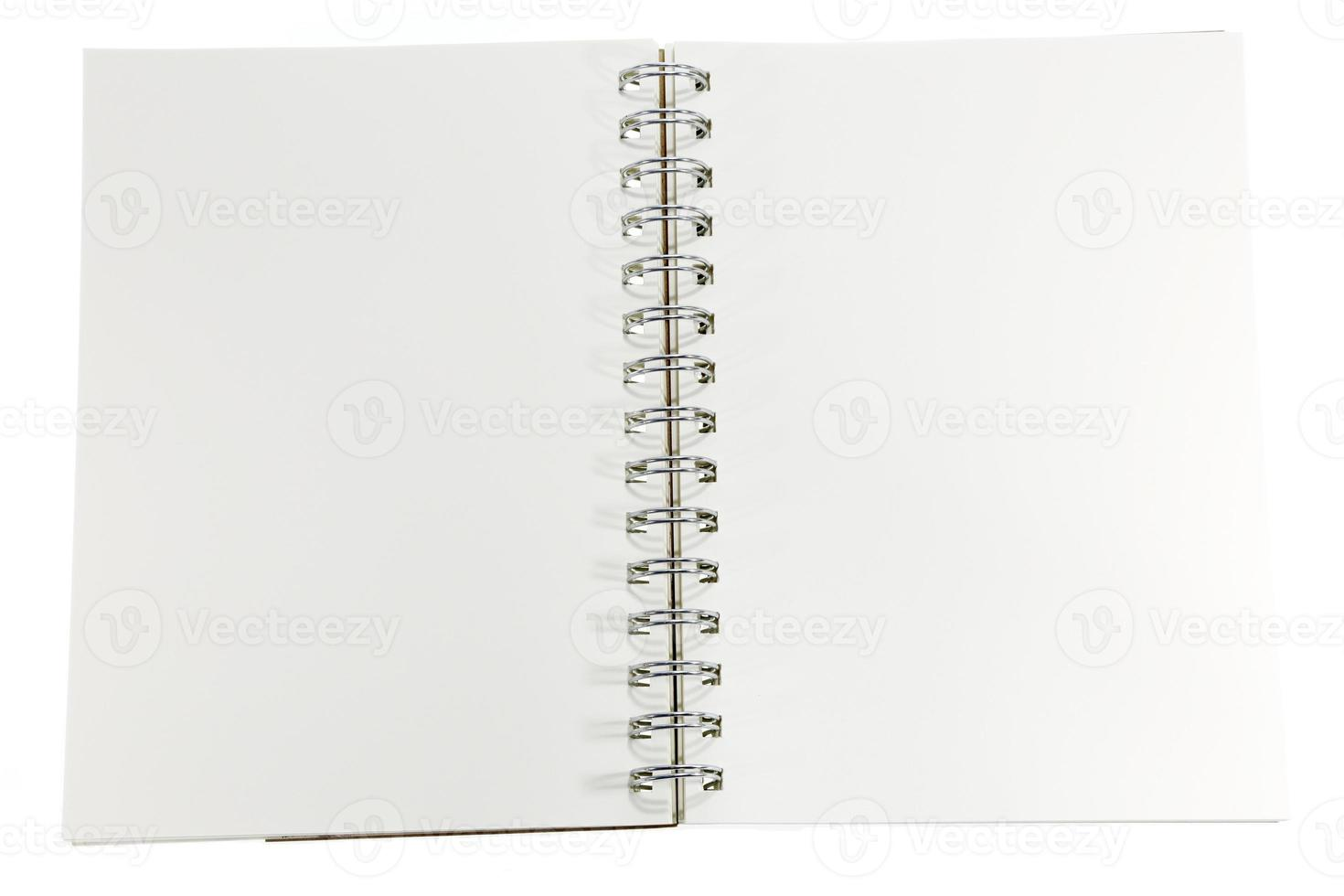 Opened note book on white background photo