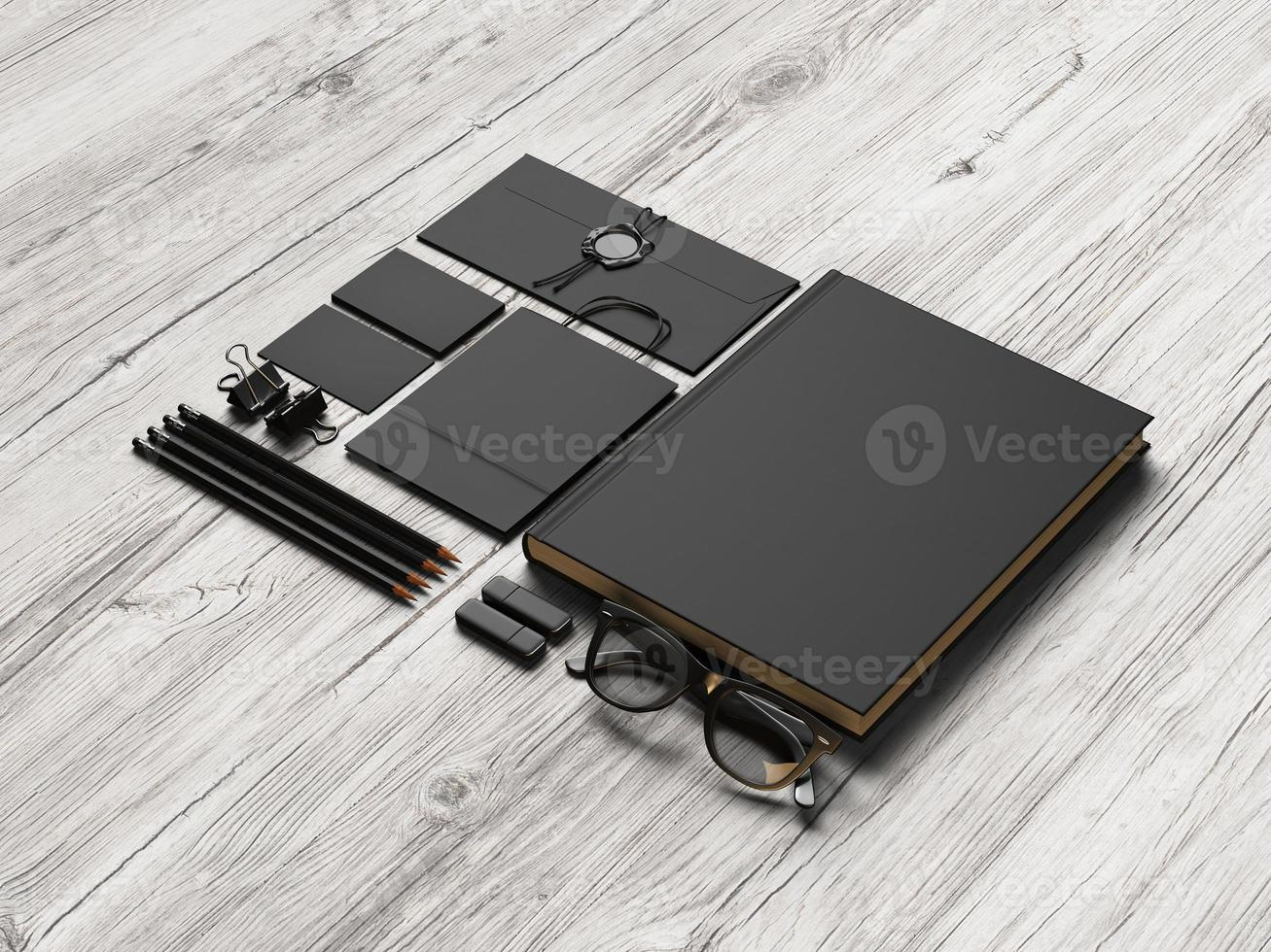 conjunto de elementos de marca negra sobre madera foto
