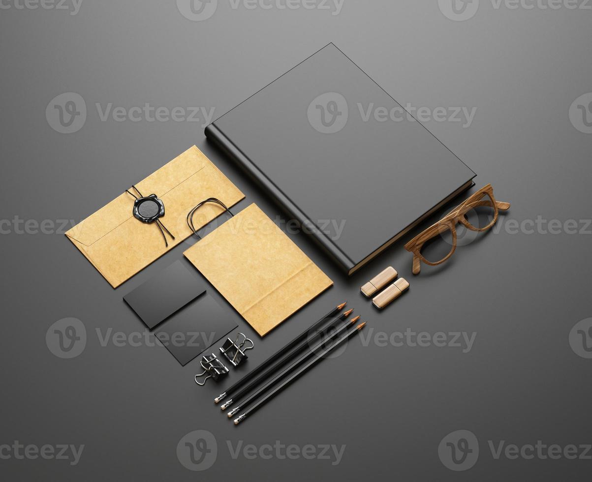 conjunto de elementos en blanco sobre fondo negro foto
