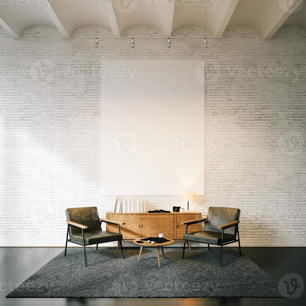 Photo of empty canvas on the white bricks wall background