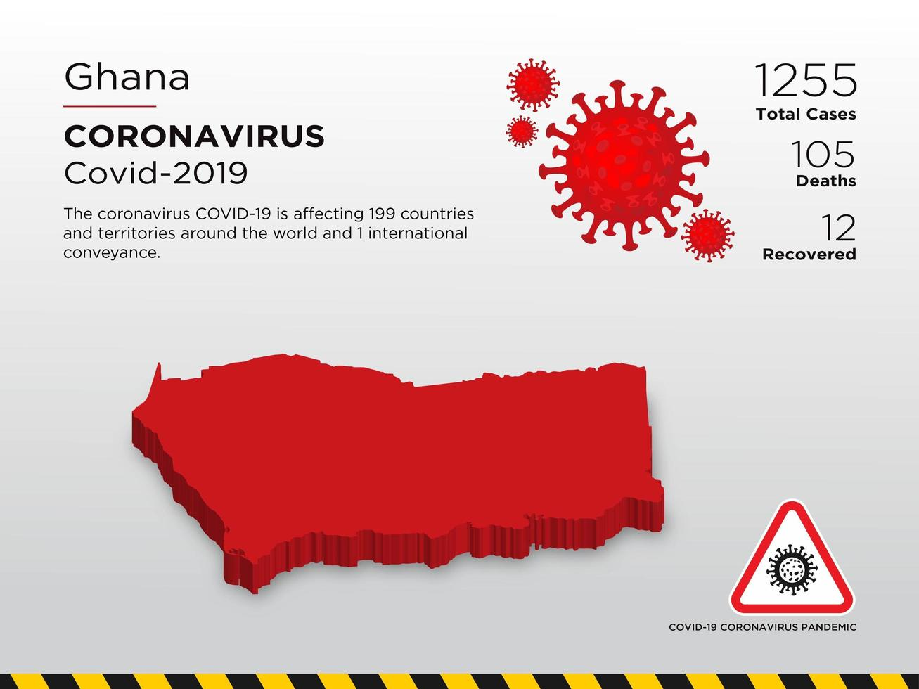 Ghana Affected Country Map of Coronavirus Spread  vector