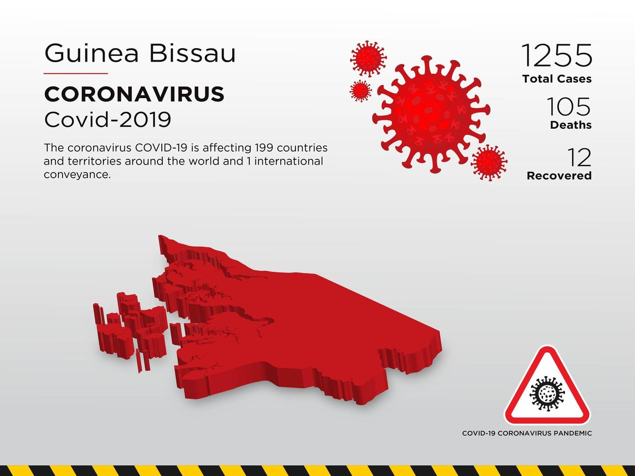 Guinea Bissau Affected Country Map of Coronavirus Spread vector