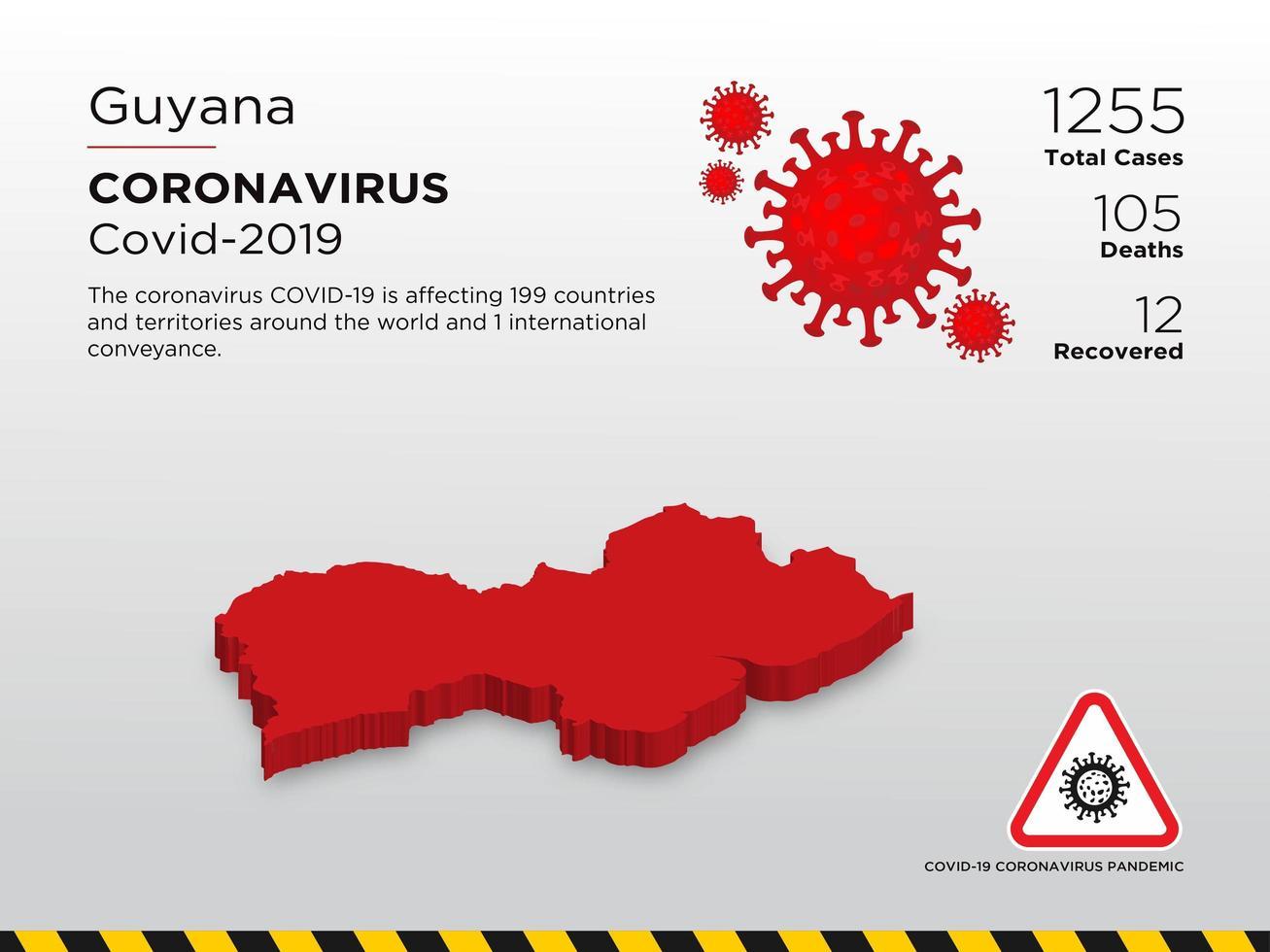 Guyana Affected Country Map of Coronavirus Spread vector