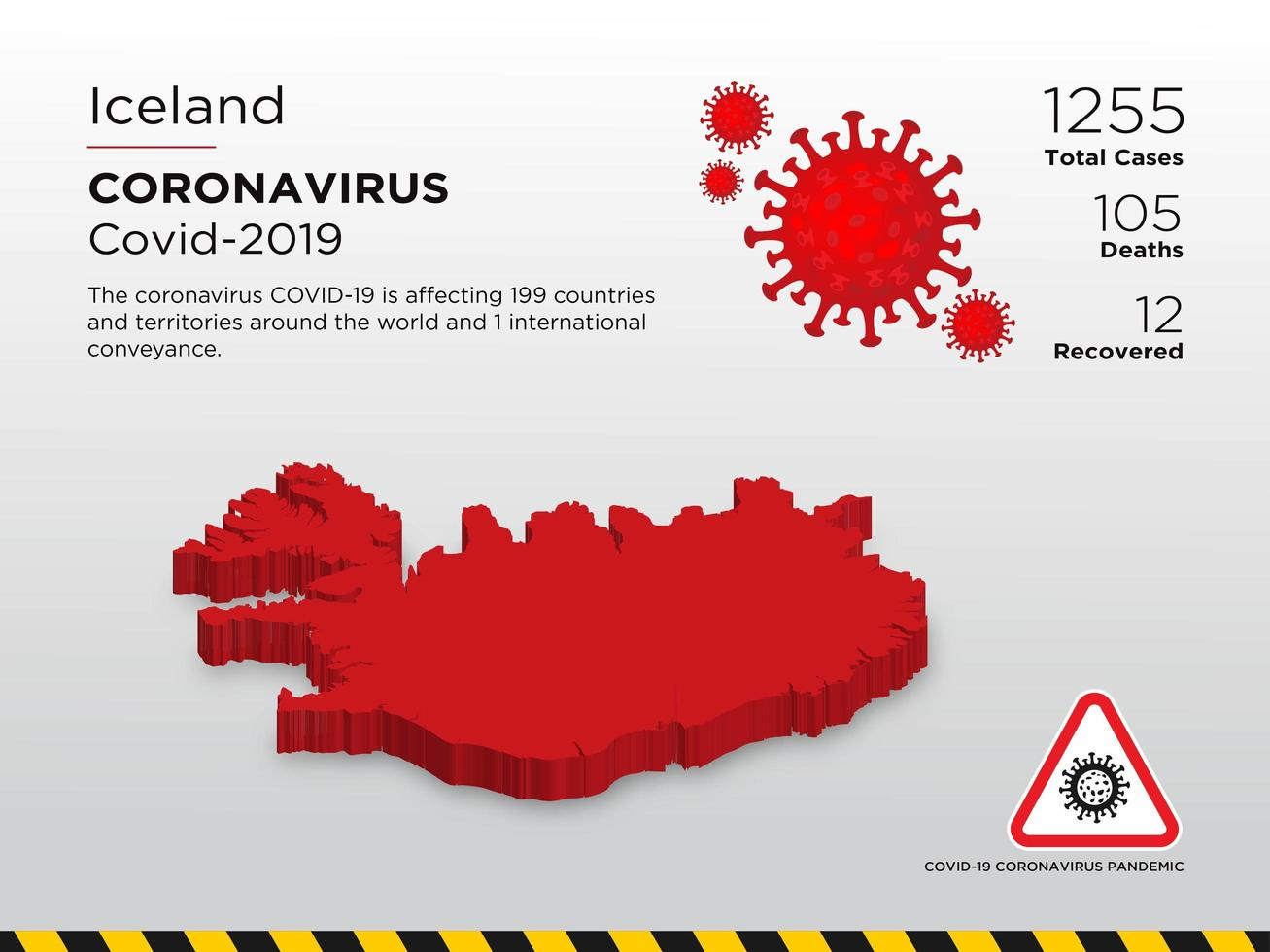 Iceland Affected Country Map of Coronavirus  vector