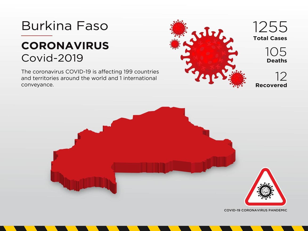 Burkina Faso Affected Country Map of Coronavirus Spread vector