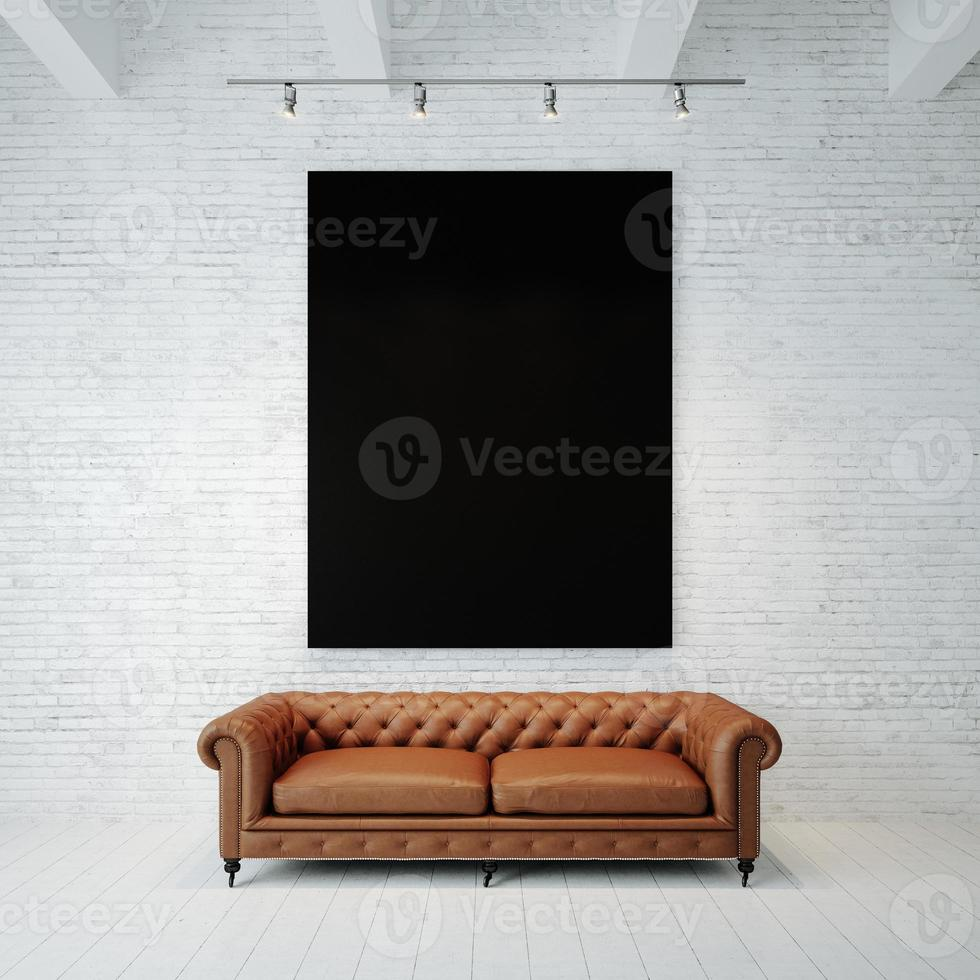 Photo of black empty canvas on the brick wall background
