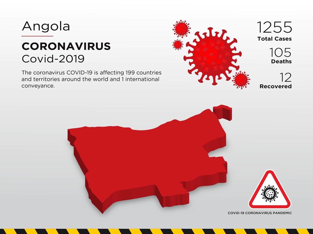 Angola Affected Country Map of Coronavirus Spread  vector