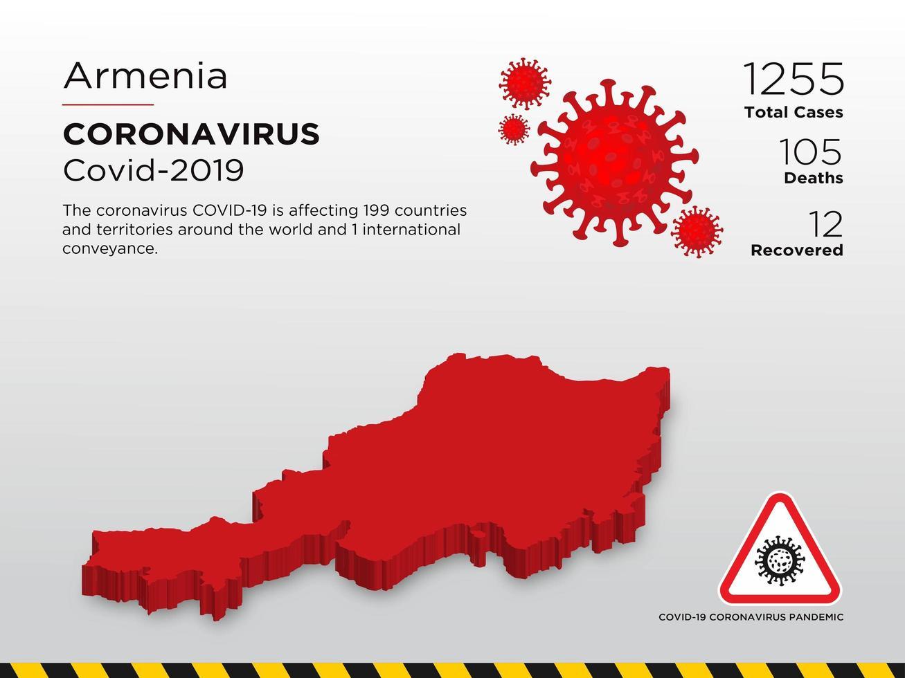 Armenia Affected Country Map of Coronavirus Spread vector