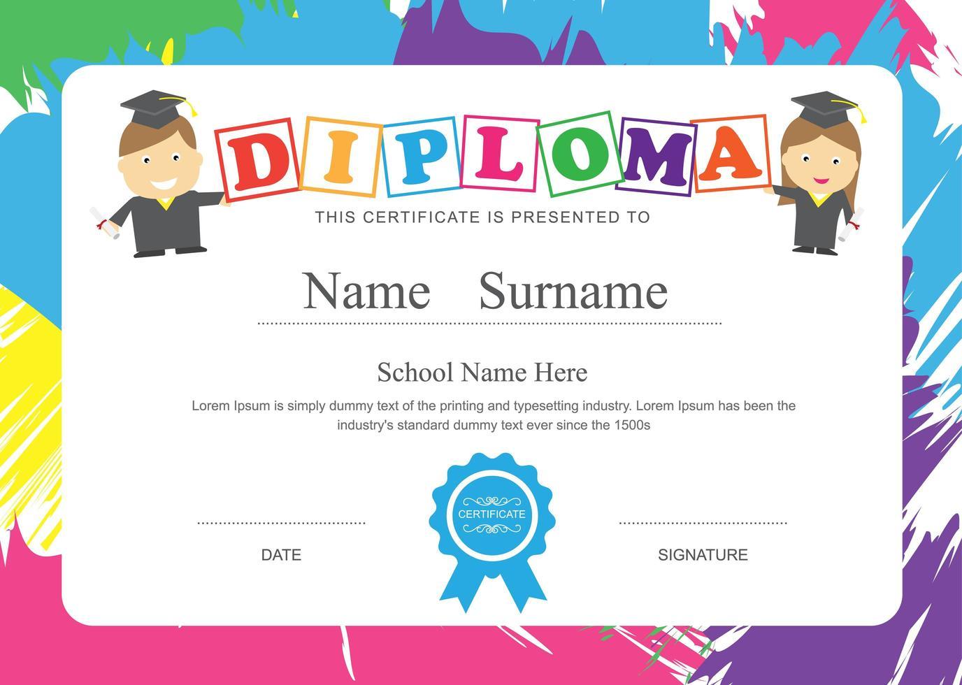 diploma di scuola per bambini con cornice a pennellata vettore