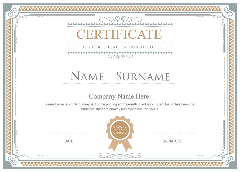 modelo de certificado de moldura ornamental de ouro e cinza vetor
