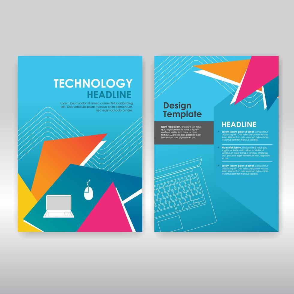 modèle de brochure triangles colorés sur bleu vecteur