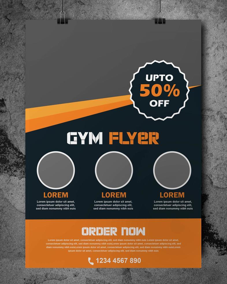 volante de gimnasio en naranja y gris con borde en ángulo vector