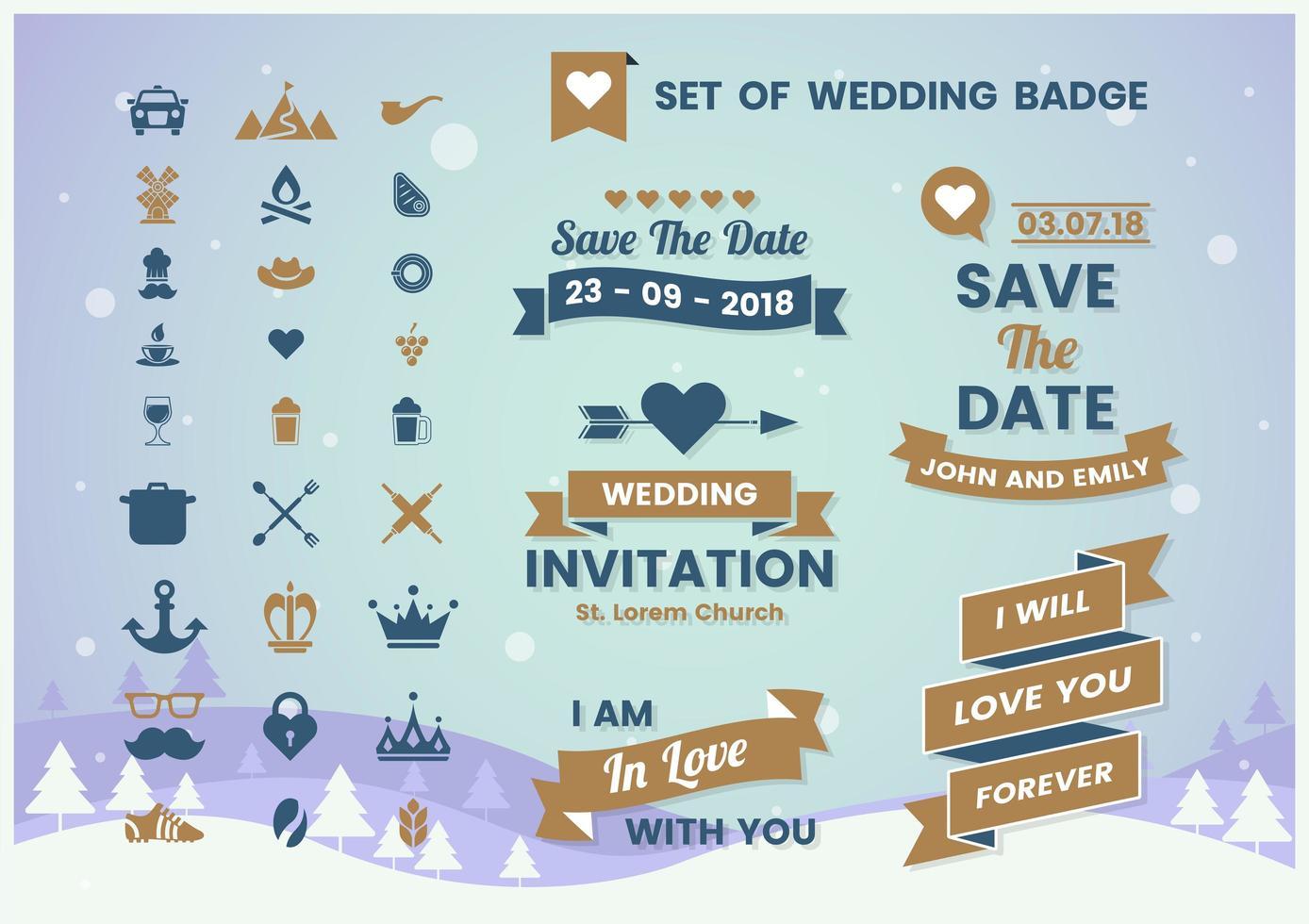 Vintage Wedding Banner Badge Set vector
