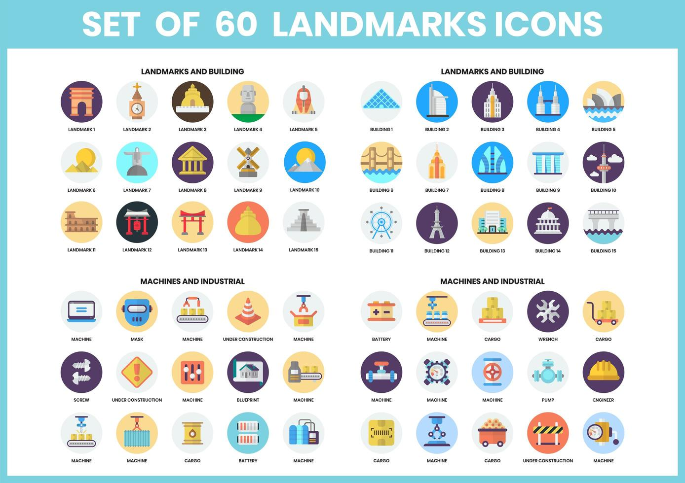 set di 60 icone punto di riferimento e macchina vettore