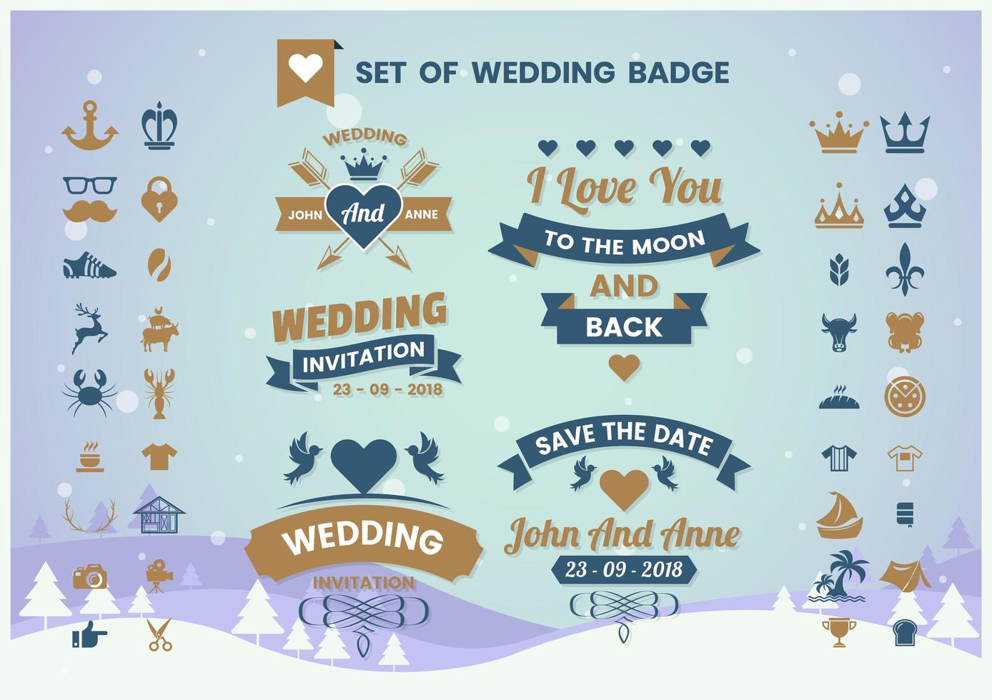 conjunto de insignia de boda vintage vector