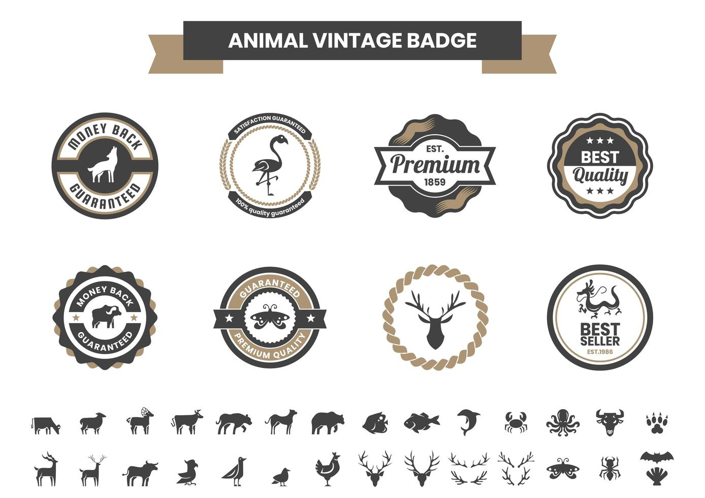 Vintage Badge Set with Dragon and Other Animals vector