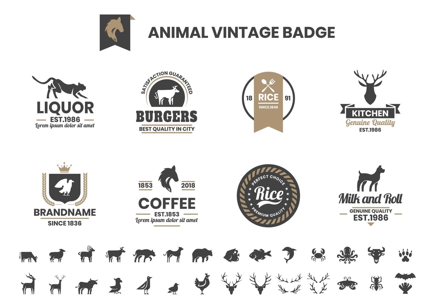 Vintage Badge Set with Dog and Other Animals vector