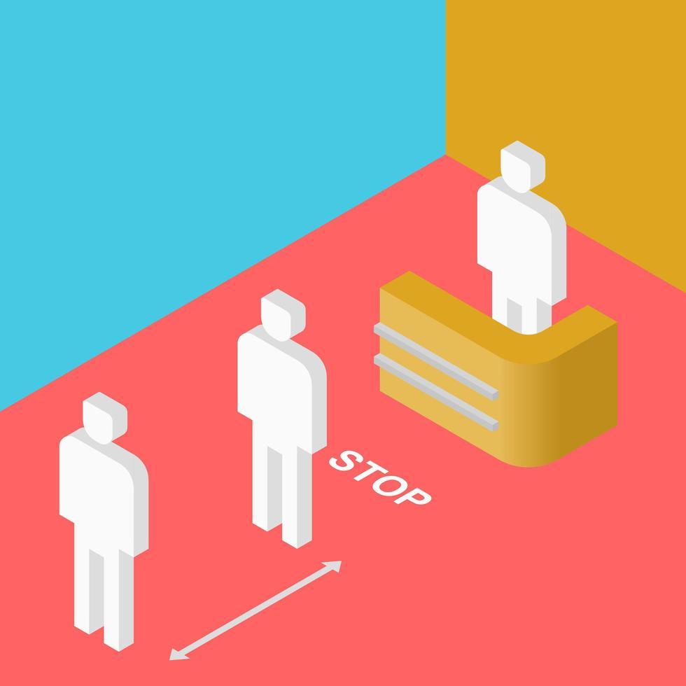 poster colorato con figure isometriche di distanza sociale vettore