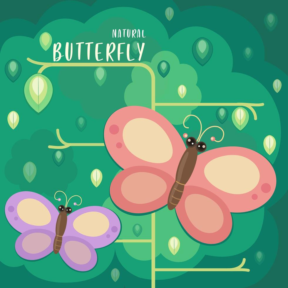 Butterflies Looking for Nectar in Cartoon Style vector