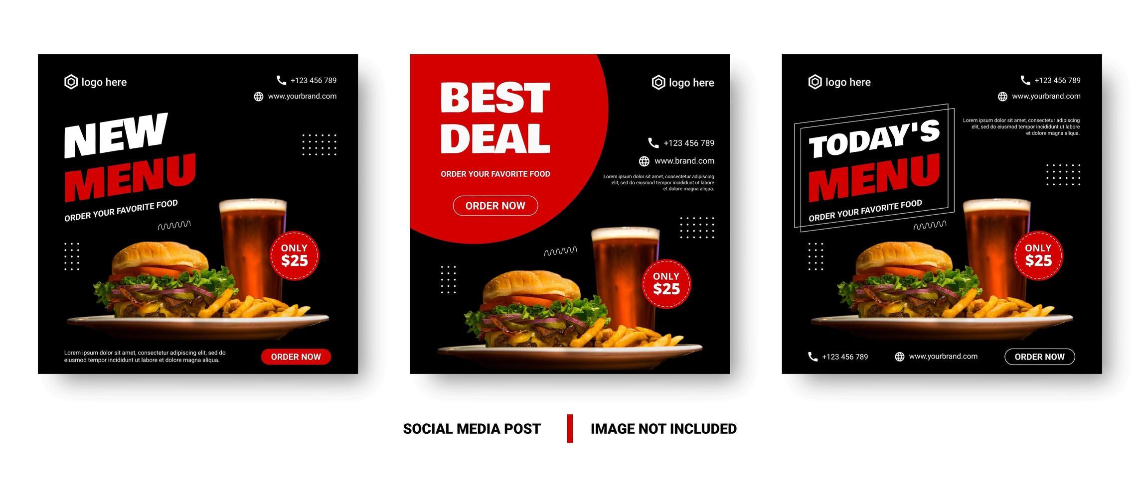 banner de menu de comida preto e vermelho de mídia social vetor