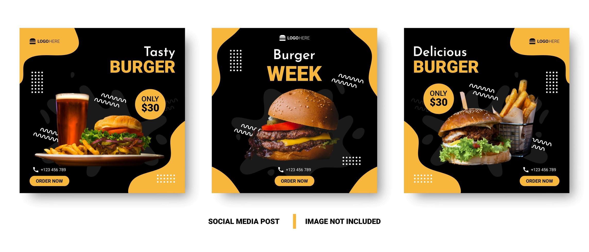 banner de mídia social de menu de comida vetor