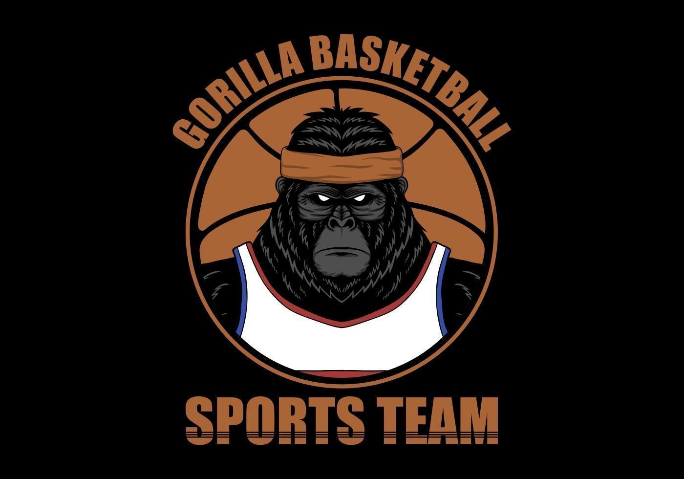 Ilustración de gorila de jugador de baloncesto vector