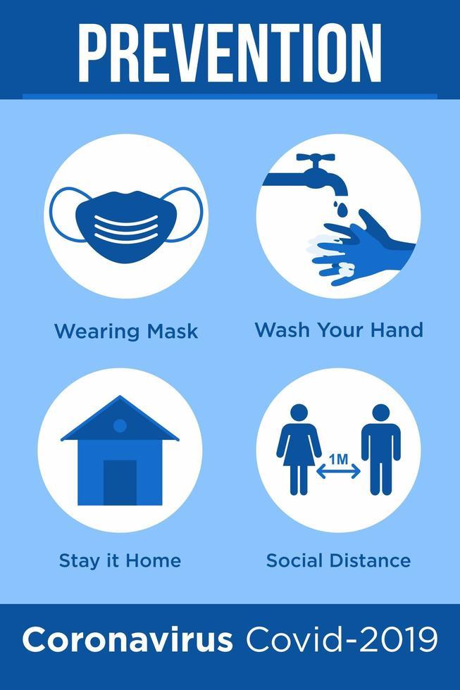 poster blu per prevenire il coronavirus vettore