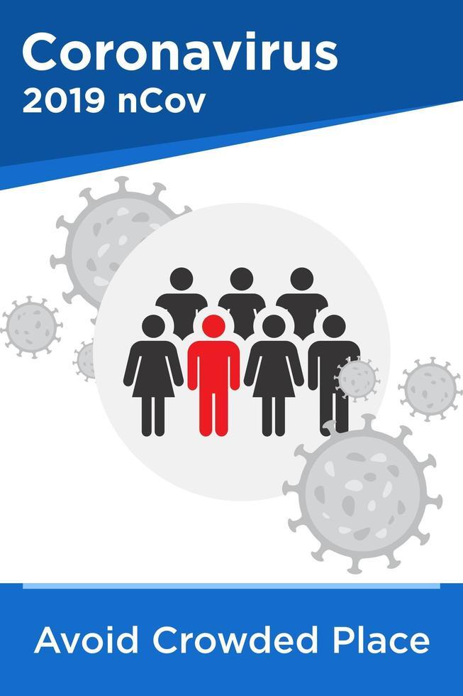Evite lugares con mucha gente para prevenir el coronavirus vector