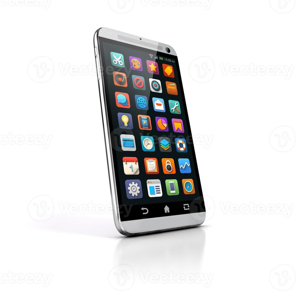 3d smart phone on white background photo