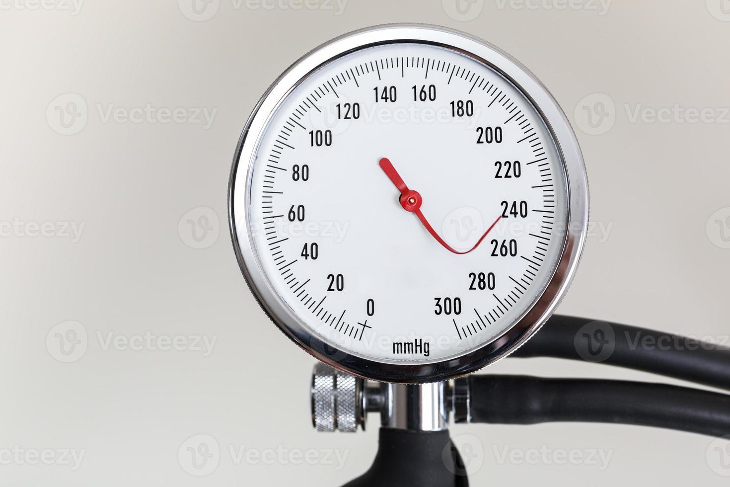 medidor de presión arterial con aguja indicadora doblada foto