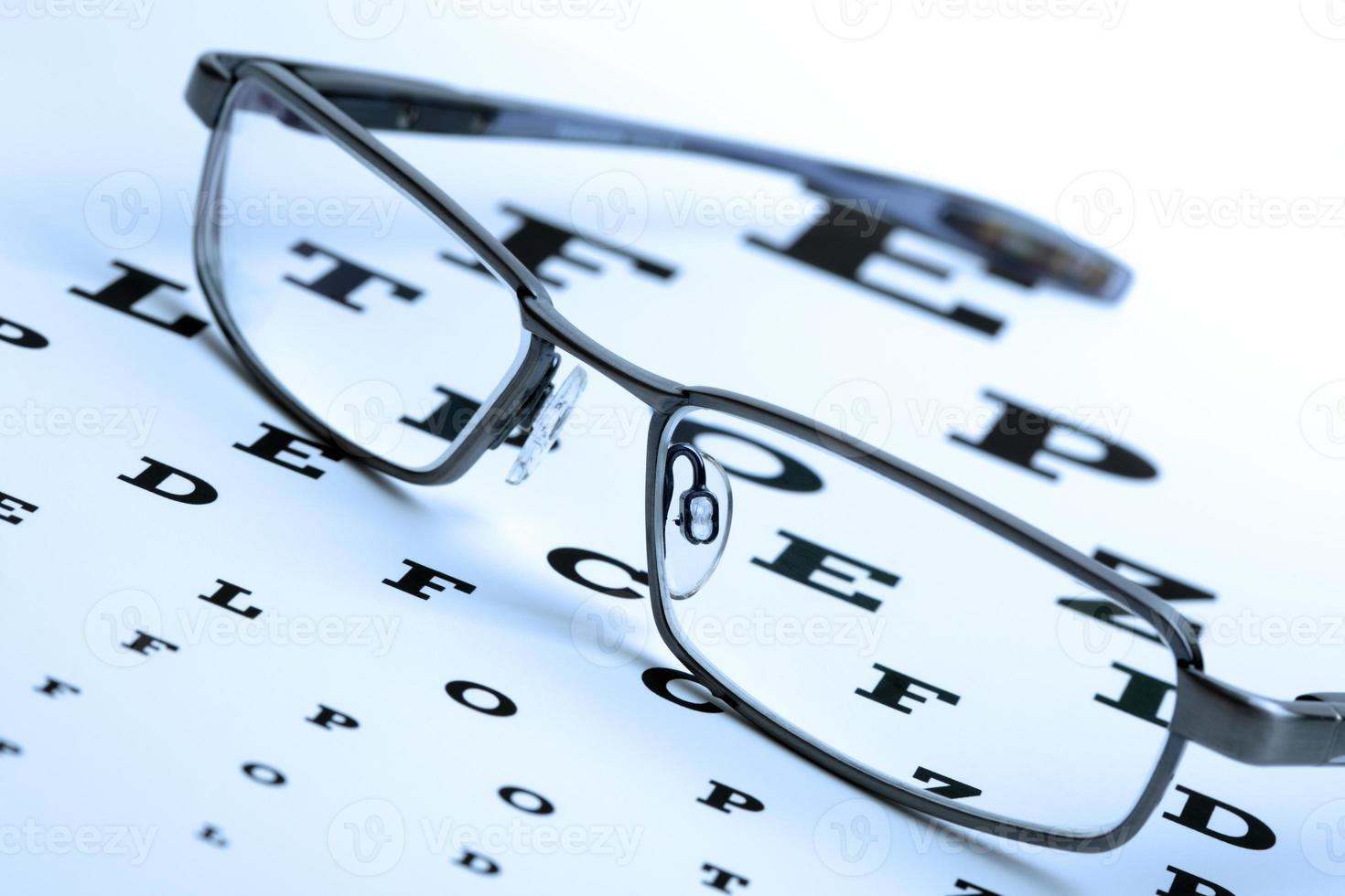 Eyeglasses on top of eye chart photo