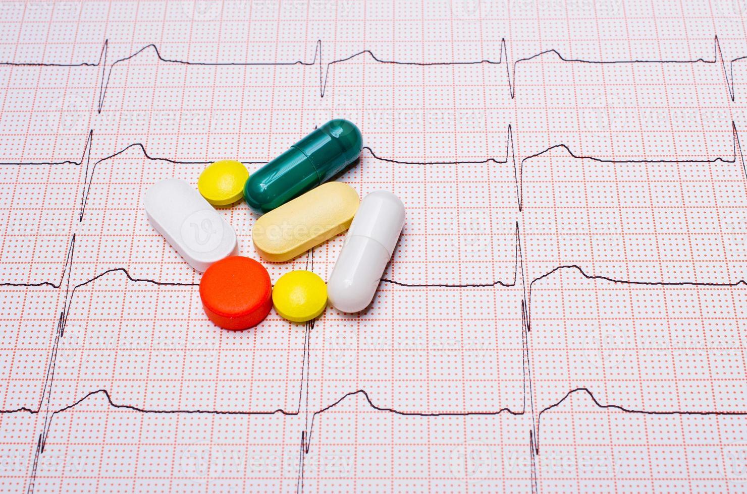 EKG chart with pills photo