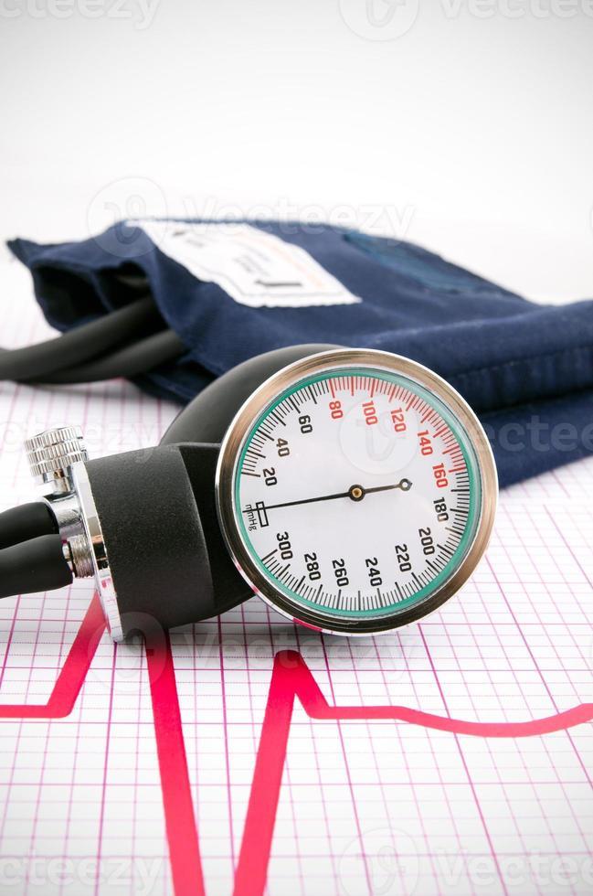 Sphygmomanometer on medical background photo