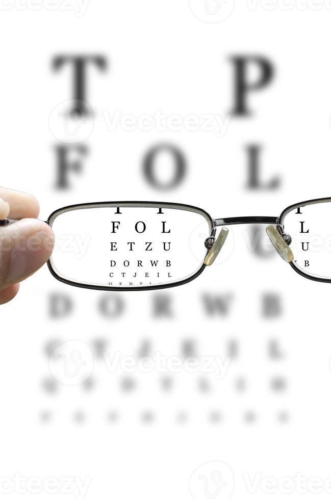 examen de la vista a través de lentes verticales foto