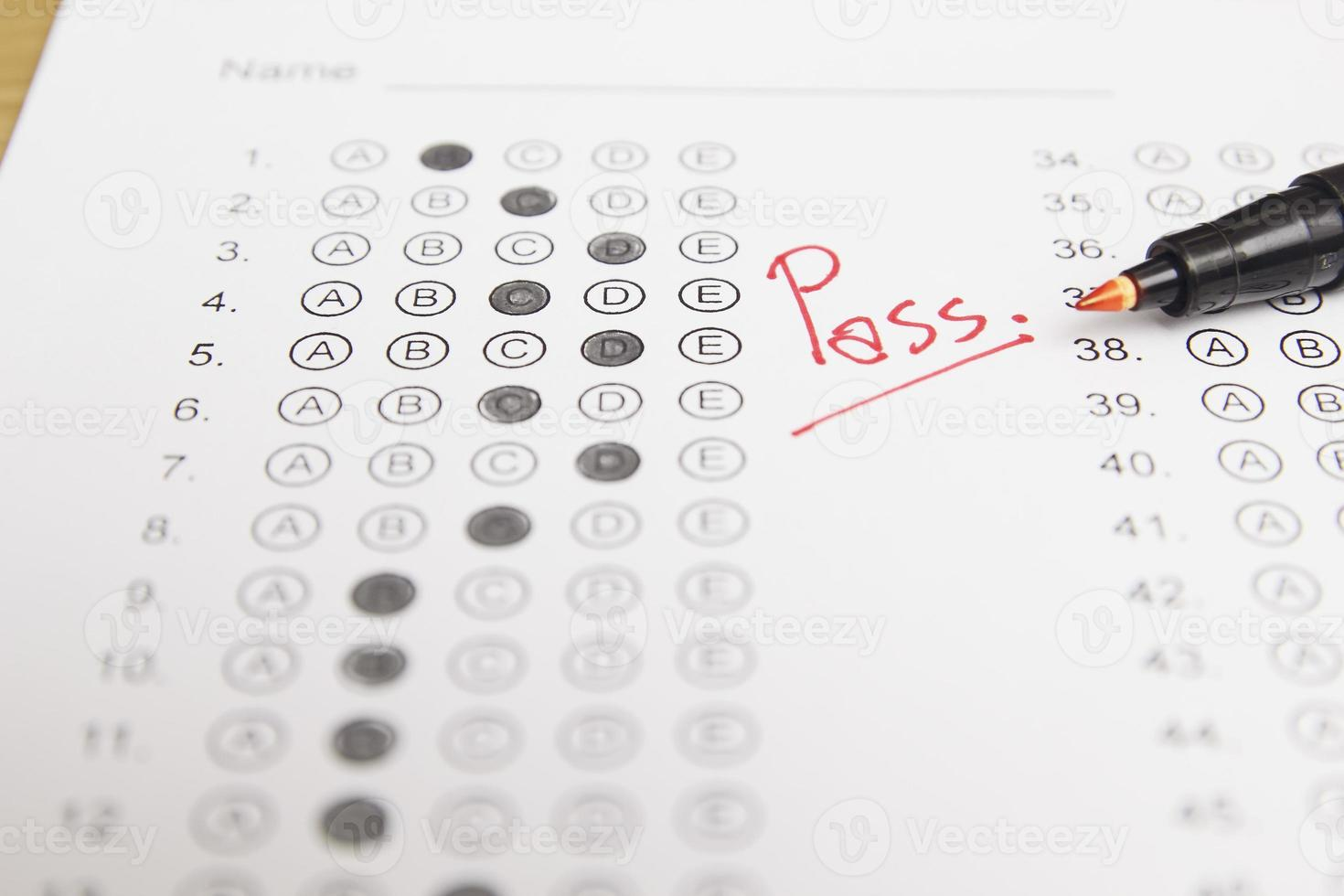 Standardized test form with answers photo