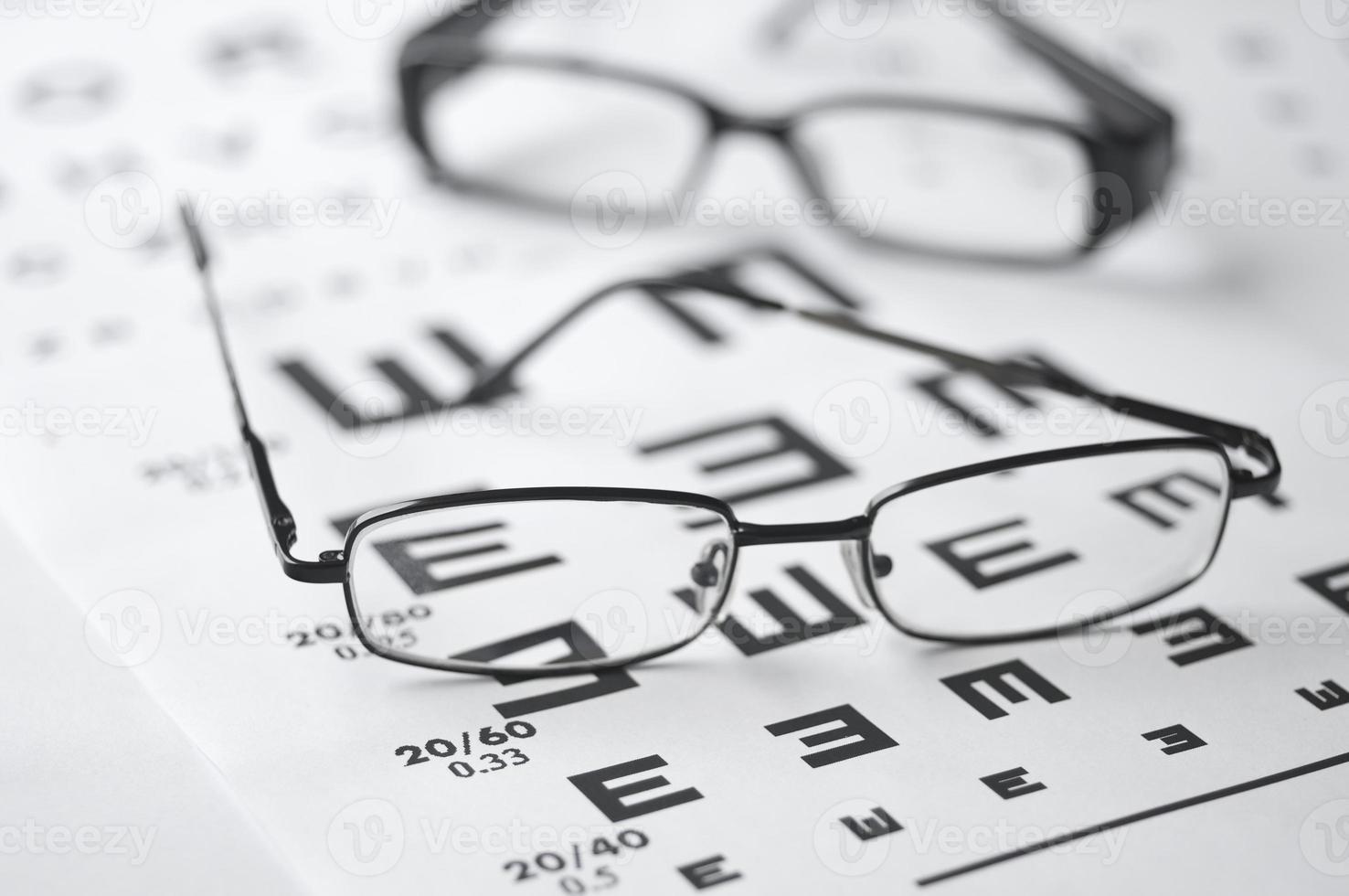 gafas y tabla optométrica foto