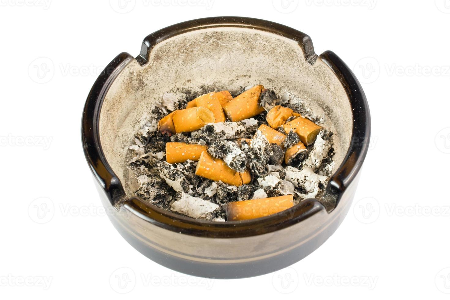 ashtray on white background photo