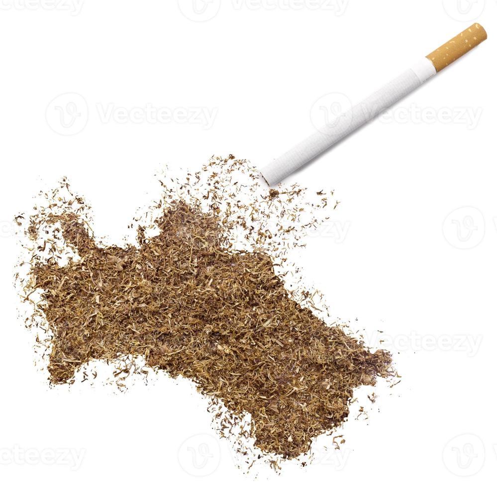 cigarrillo y tabaco con forma de Turkmenistán (serie) foto
