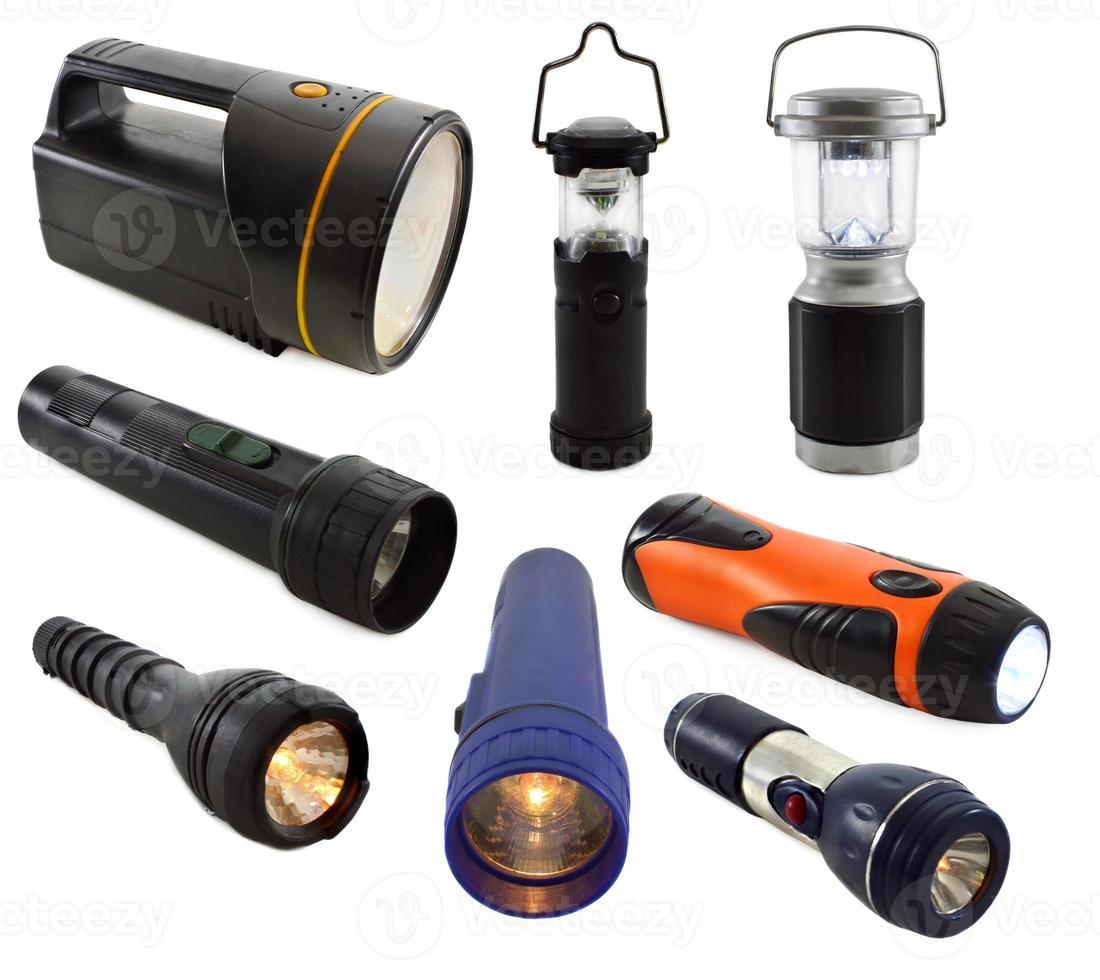 Set of flashlights isolated on white photo