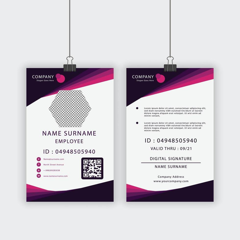 Mitarbeiterausweis in lila und rosa abgewinkeltem Design vektor